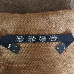 WHBM Rhinestone black belt. Small